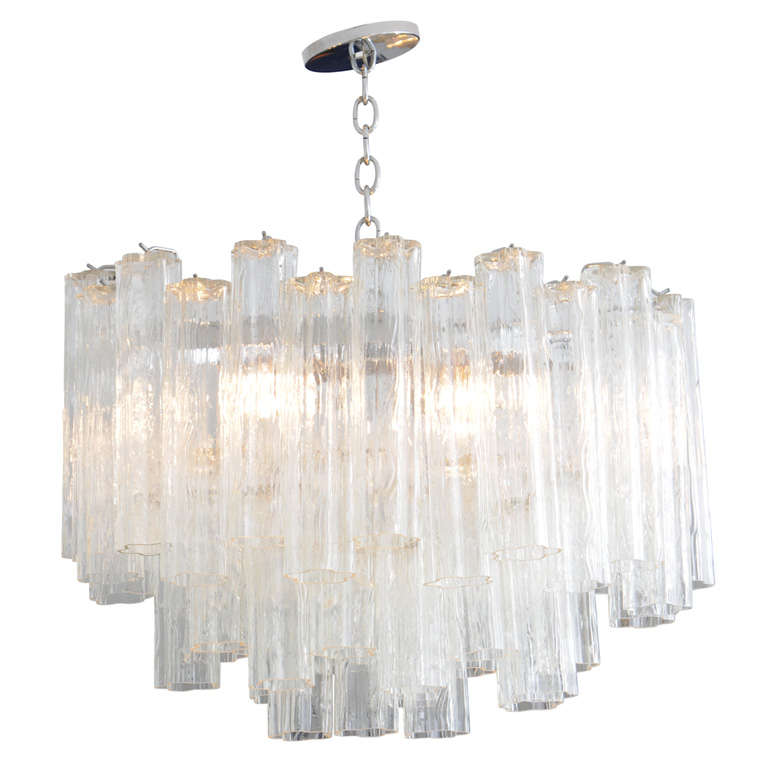 Venini Oval Multi Tiered Tronchi Chandelier at 1stdibs