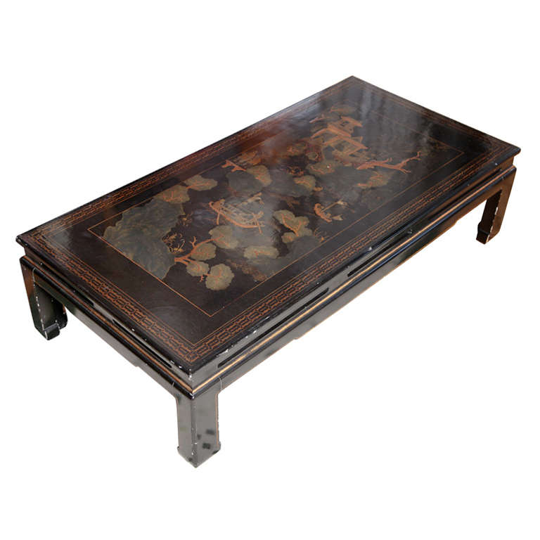A Large Black Chinoiserie Decorated Coffee Table At 1stdibs