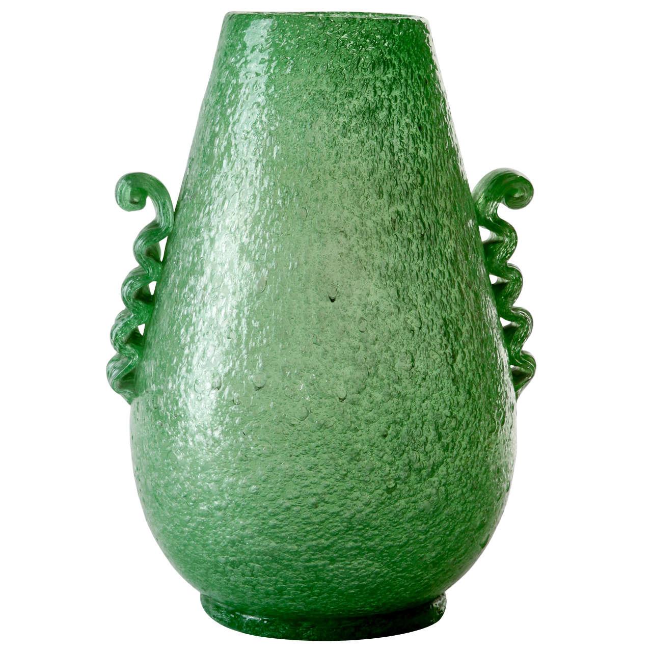"""A 1930's Green Blown Murano """"Pulegoso """" Glass . By Seguso Vetri d'Arte."""