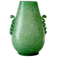 "A 1930's Green Blown Murano ""Pulegoso "" Glass . By Seguso Vetri d'Arte."