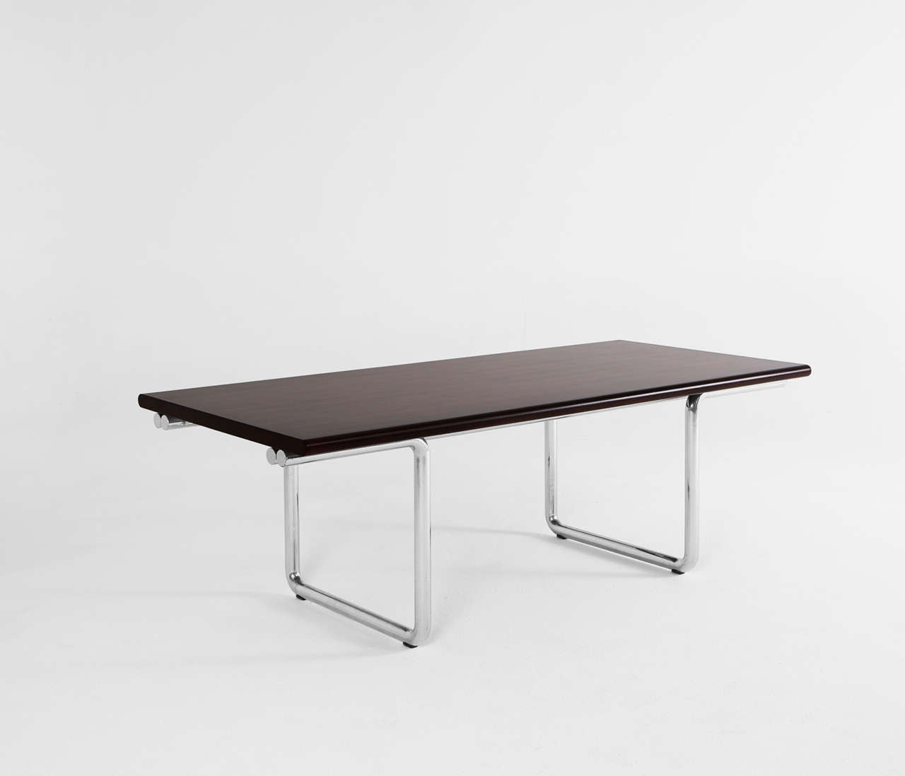 Dining table in rosewood and chrome tubular frame for sale for Dining table frame