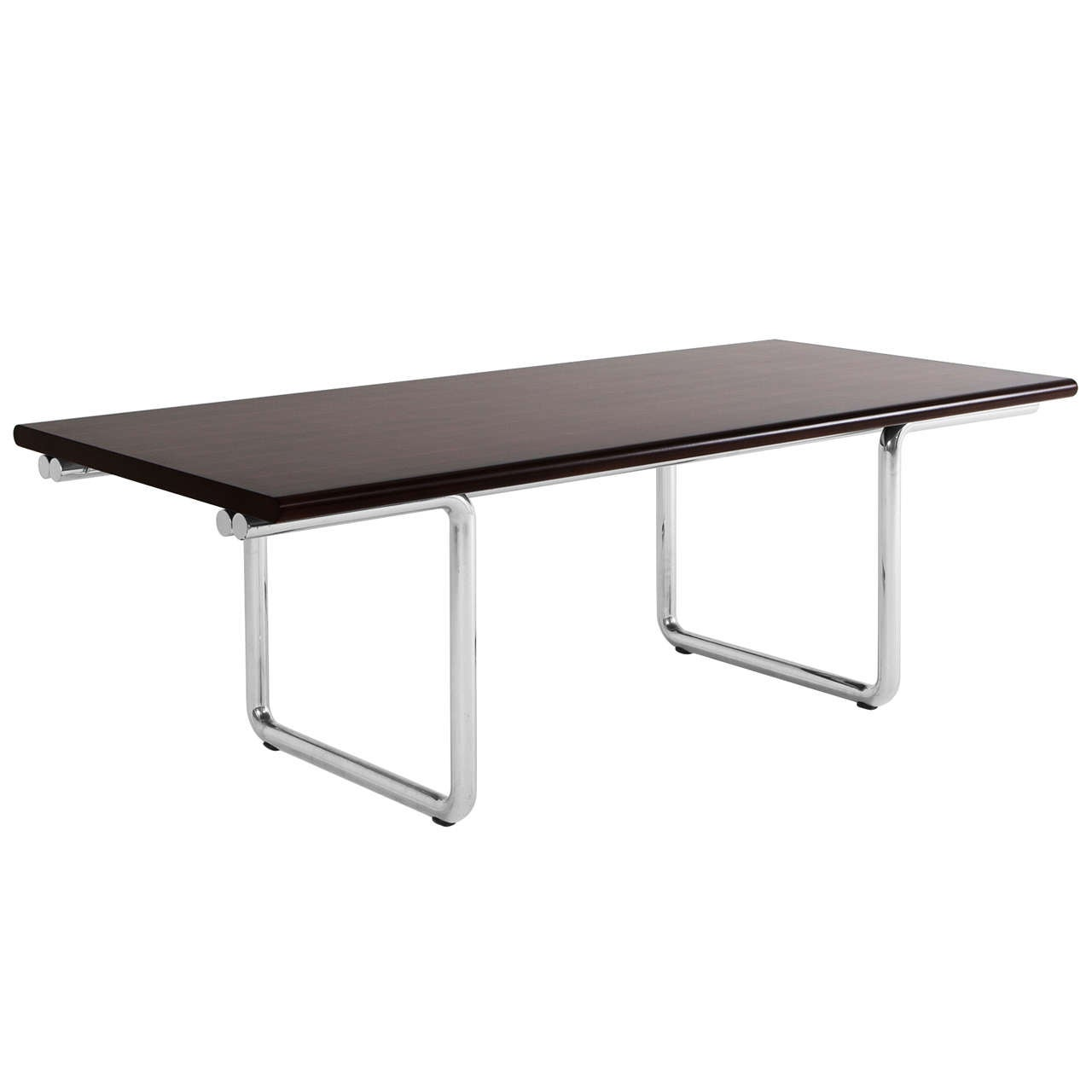 Dining Table In Rosewood And Chrome Tubular Frame For Sale