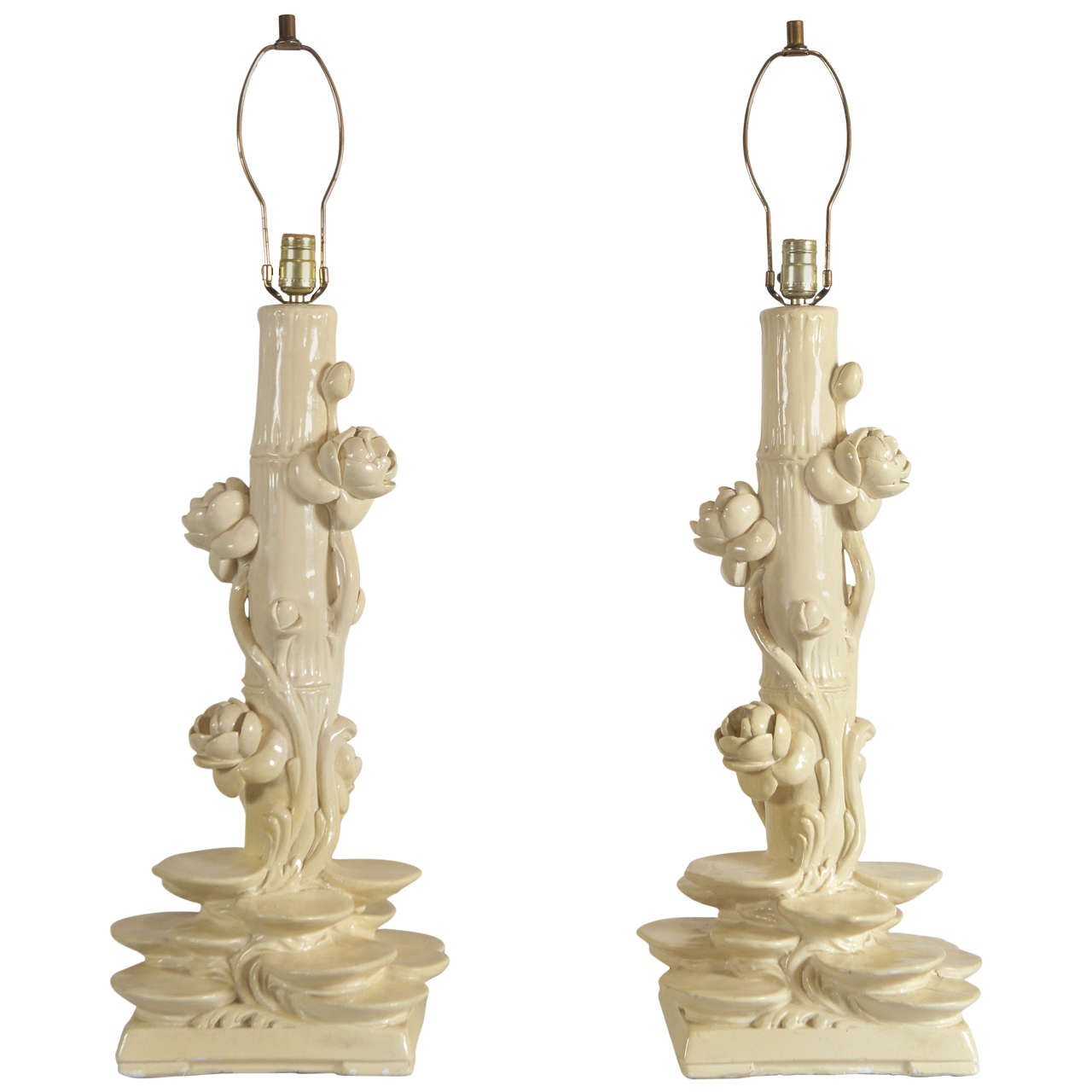 Pair of Serge Roche Plaster Lamps For Sale