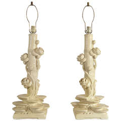 Pair of Serge Roche Plaster Lamps