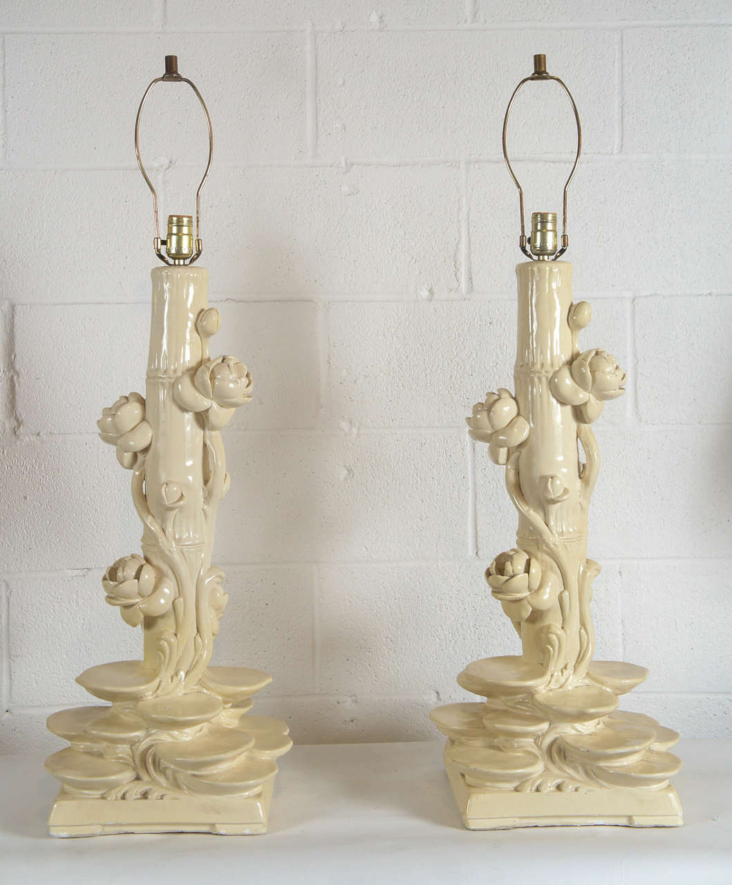 American Pair of Serge Roche Plaster Lamps For Sale