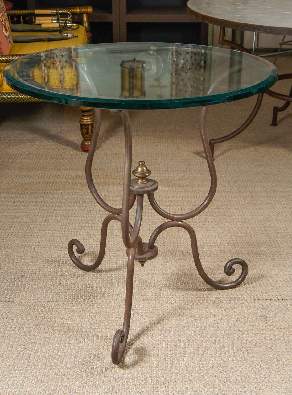 American Scroll Iron End Table For Sale