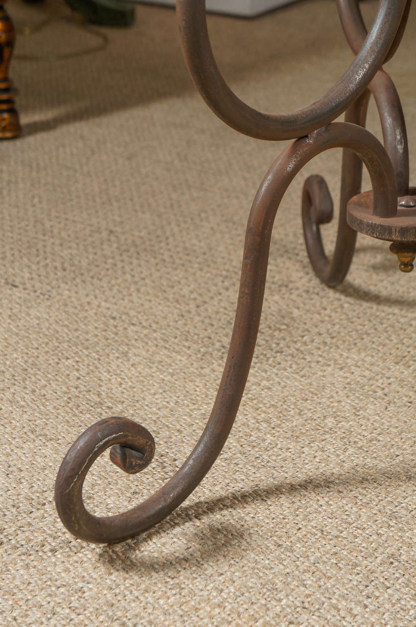 Brass Scroll Iron End Table For Sale
