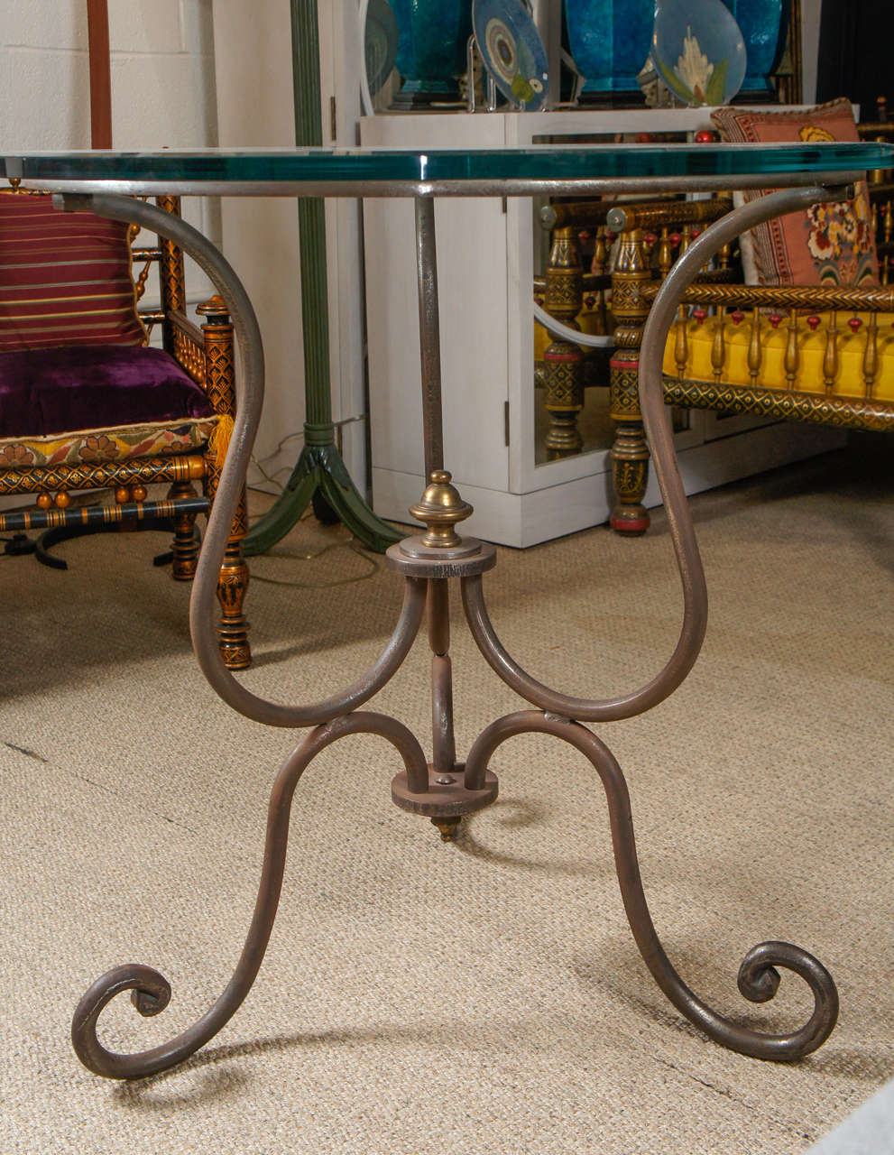 Scroll Iron End Table For Sale 3
