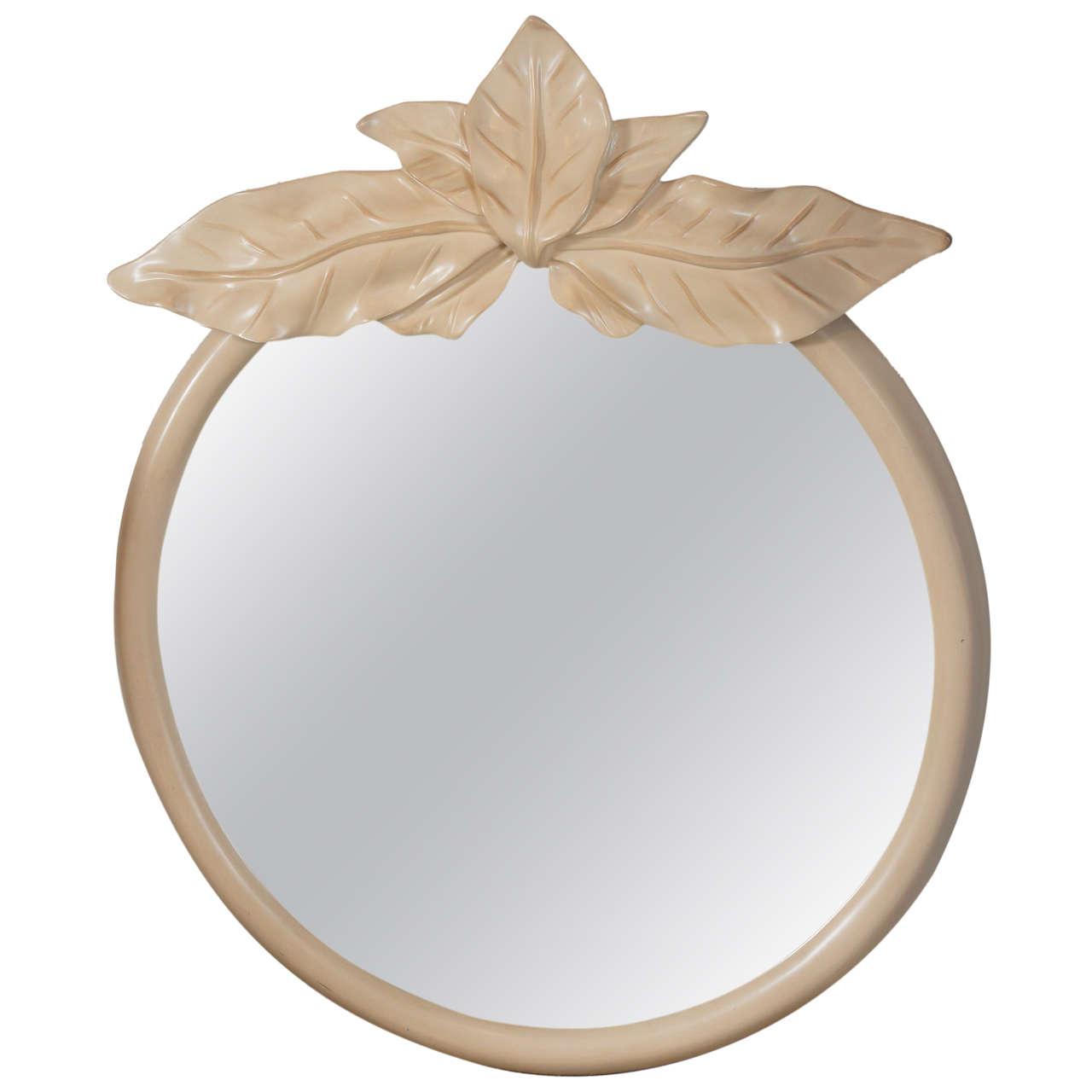 Circular Mirror with a Palm Leaf Motif