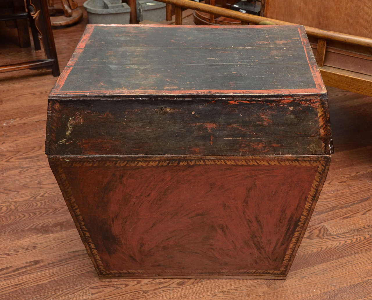 Late 18th Century Burmese Temple Book Storage Trunk in Original Lacquer 2