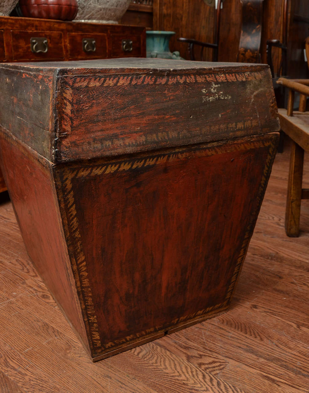 Late 18th Century Burmese Temple Book Storage Trunk in Original Lacquer 3