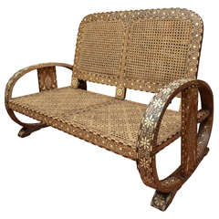 Anglo-Indian Horn and Bone Inlaid Settee with Caned Back and Seat