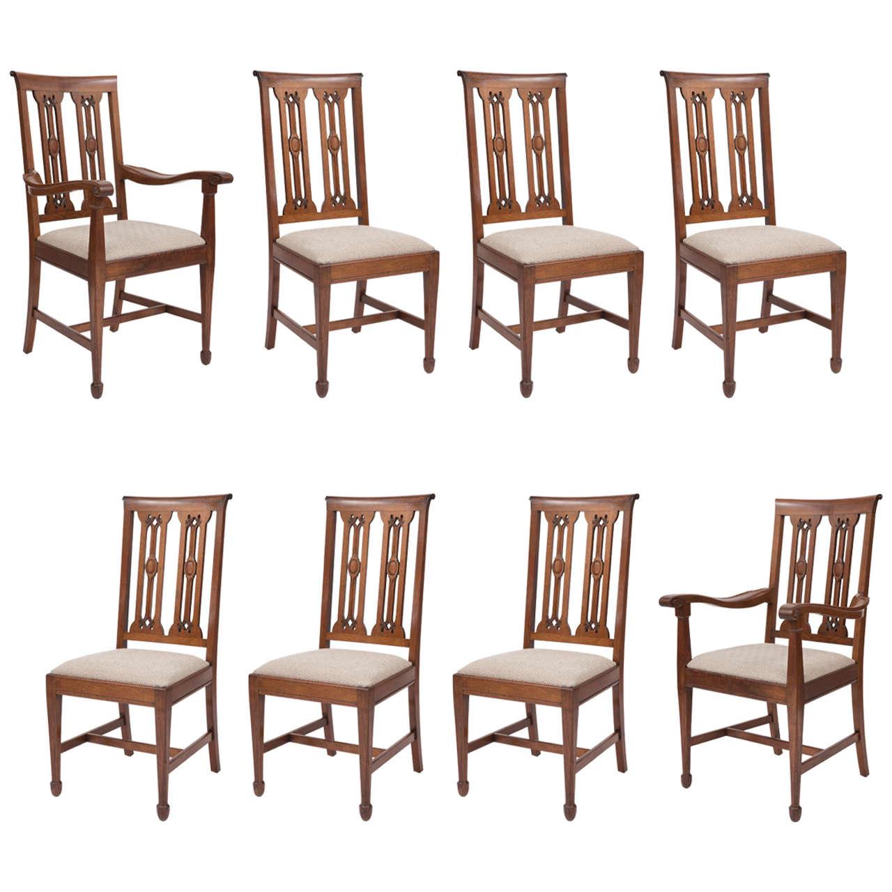 Arthur Simpson of Kendal, set of eight walnut dining chairs, England circa  1915