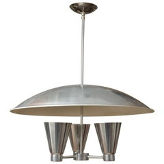 Spun Aluminium Dome Ceiling Fixture with Conical Uplights by Edward Wormley