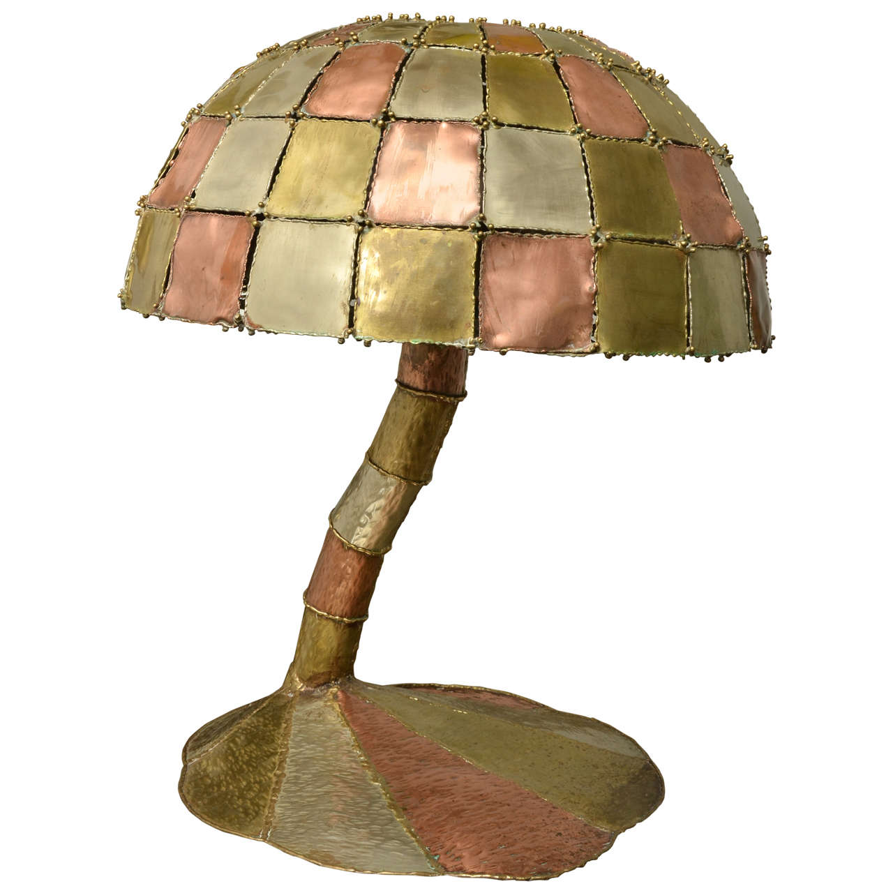 Metal Patchwork Motif Mushroom Table Lamp At 1stdibs
