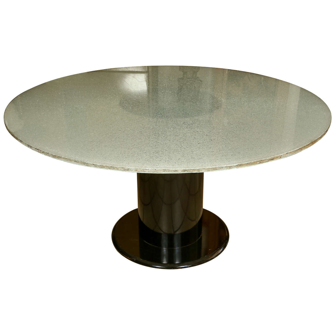 Interesting round dining table with a crackled acrylic top for Interesting table tops