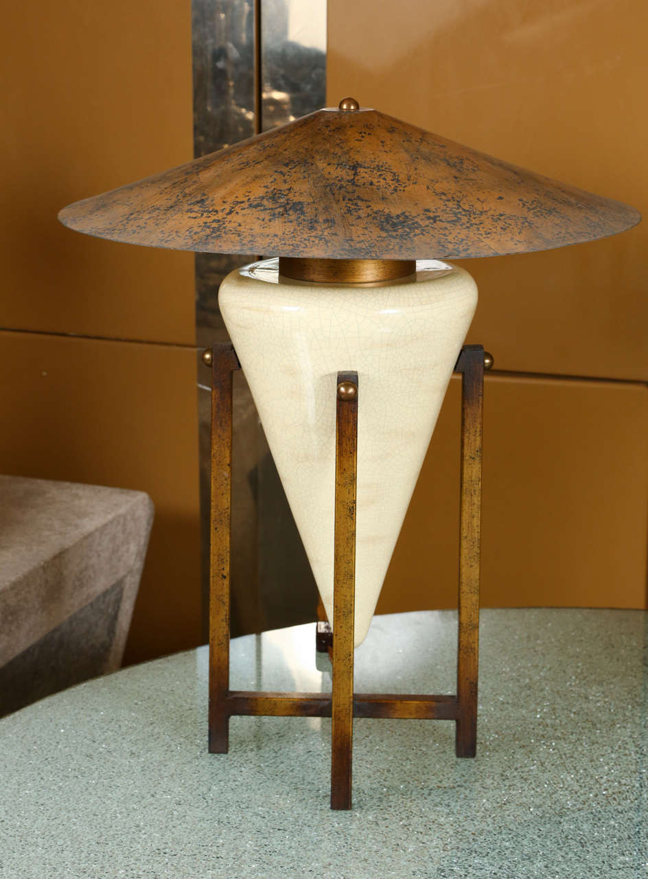 Pair Of Unusual Table Lamps With Ceramic Bases In Antiqued Wooden