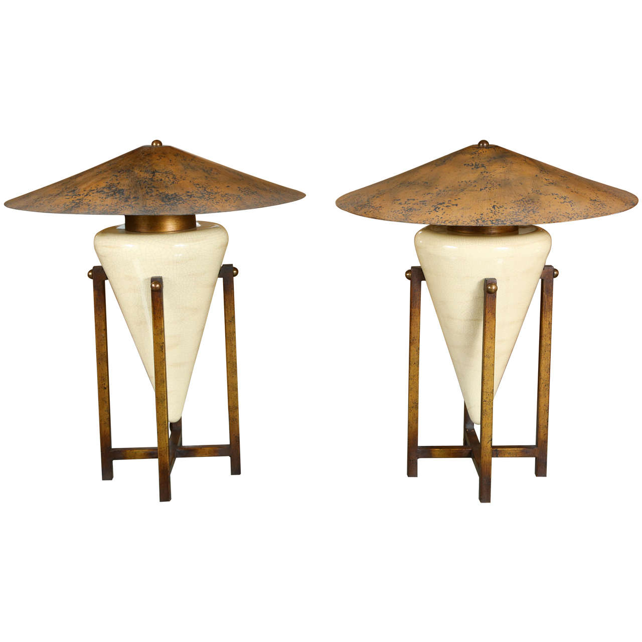 Pair Of Unusual Table Lamps With Ceramic Bases In Antiqued