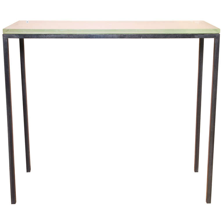 Moderne console table with st gobain glass top at 1stdibs for 10 spring street console table