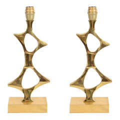 Fantastic and rare pair of 1970's sculptural lamps by Willy Daro