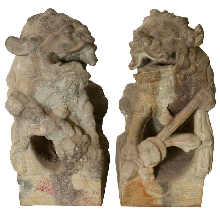 Pair of Late 18th Century Qing Dynasty Peking Carved Limestone Foo Dogs 1