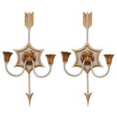 Pair of Directoire Lion Mask Sconces of Bronze