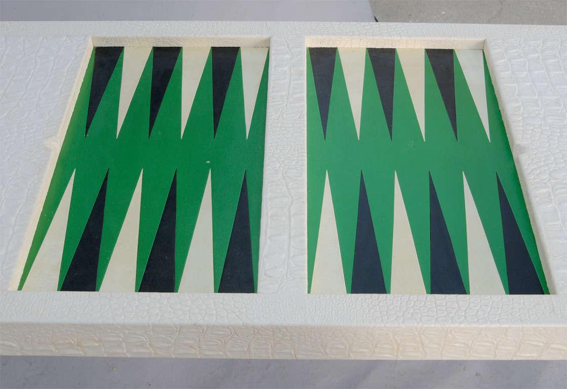 Karl Springer Faux Crocodile Embossed Backgammon Table At