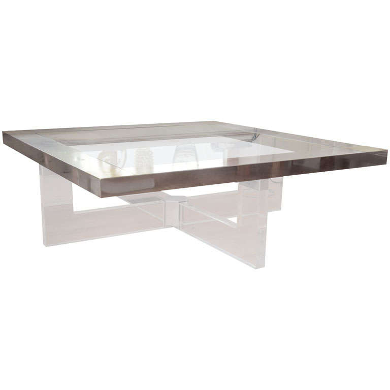 Large Nickel Finish Bronze Accent Glass And Lucite Coffee Table At 1stdibs