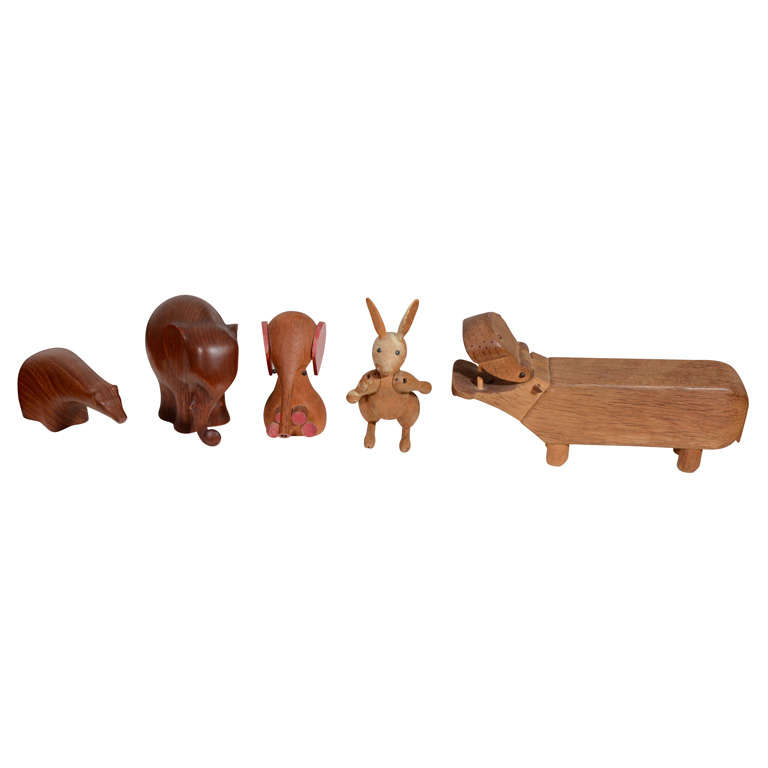 Collection of Danish Wooden Animals-Kay Bojesen