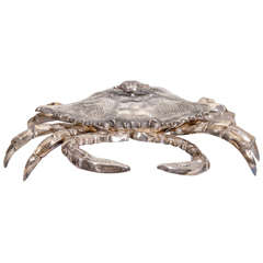 Silver Plated Crab Sculpture