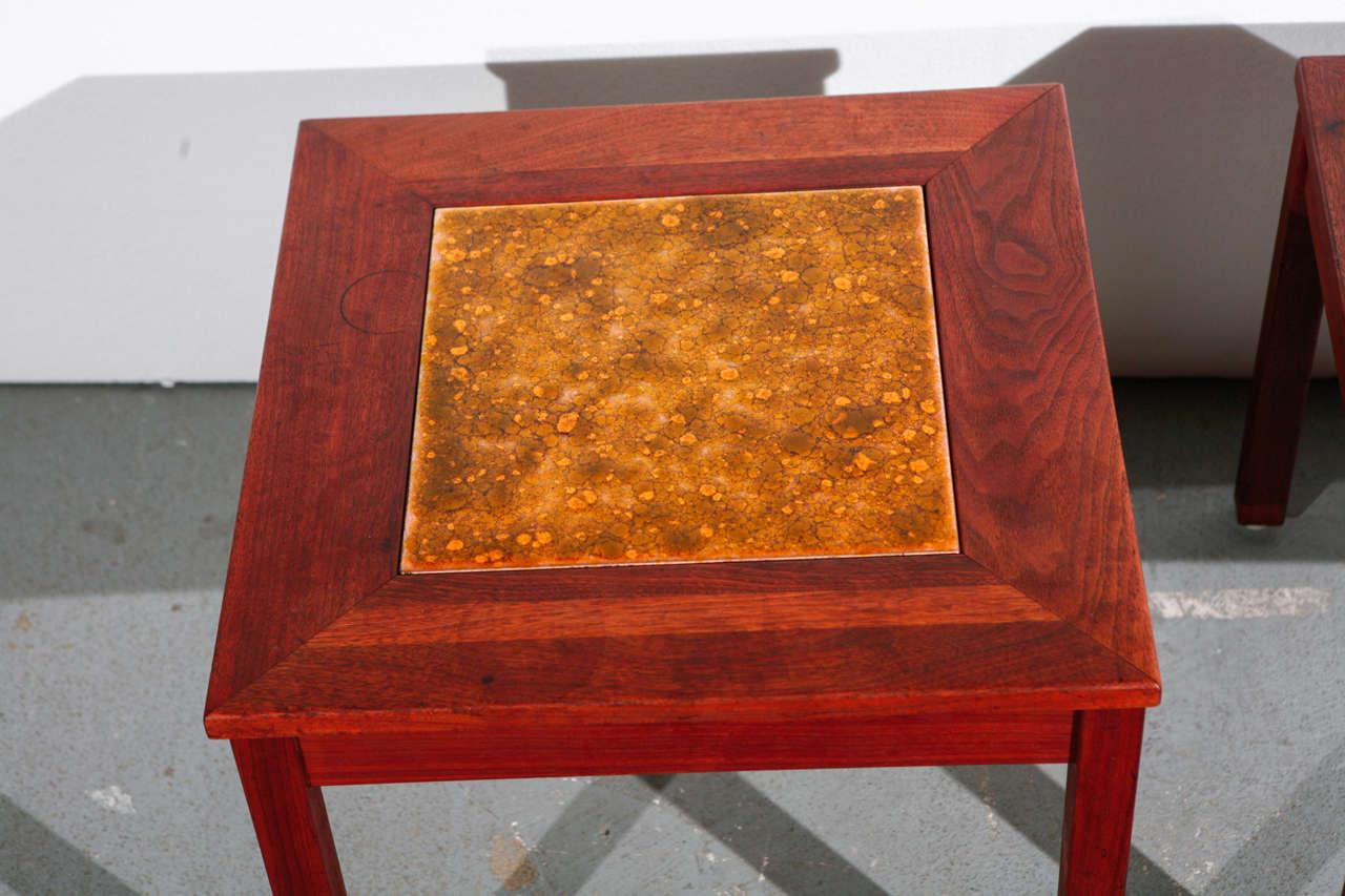 American Pair of Brown Saltman End Tables For Sale
