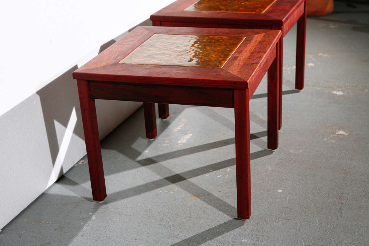 Pair of Brown Saltman End Tables For Sale 1