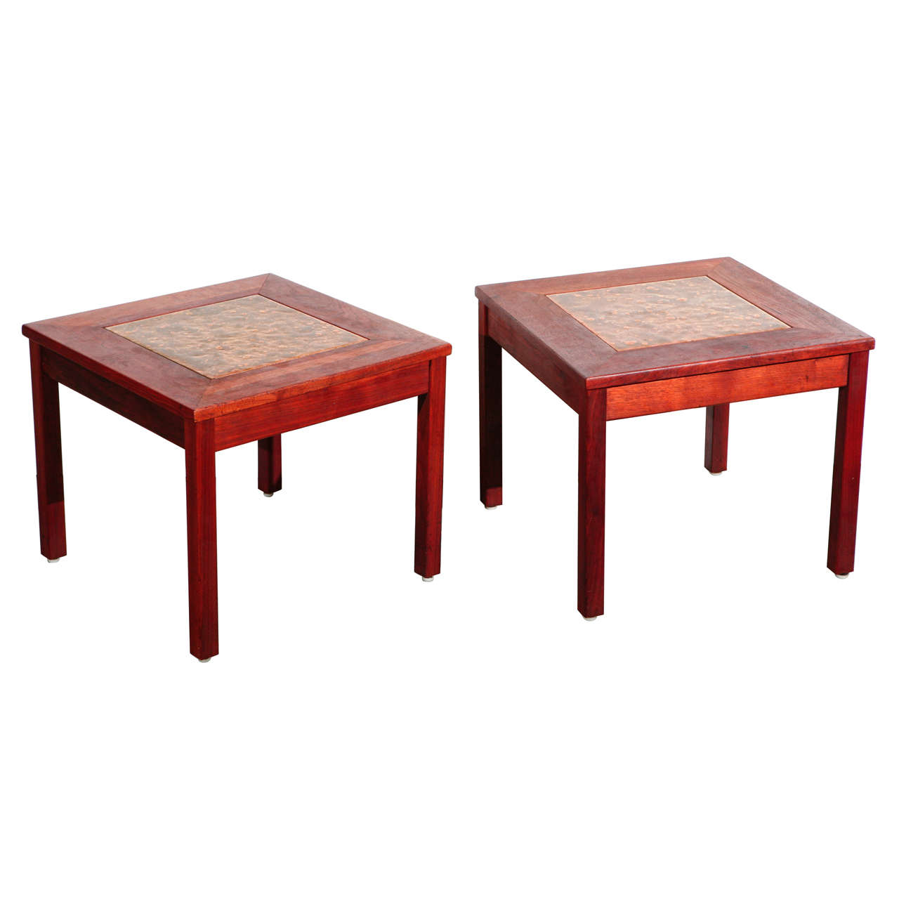 Pair of Brown Saltman End Tables For Sale
