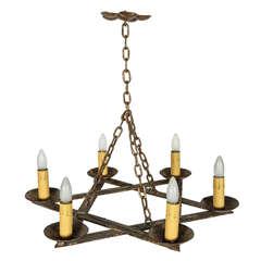 Six Lamp Star of David Bronze Chandelier