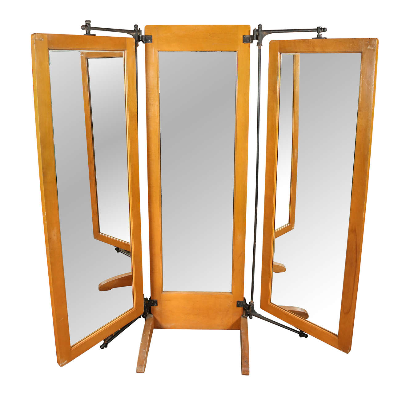 Antique trifold dressing room mirror at 1stdibs for Furniture and mirror