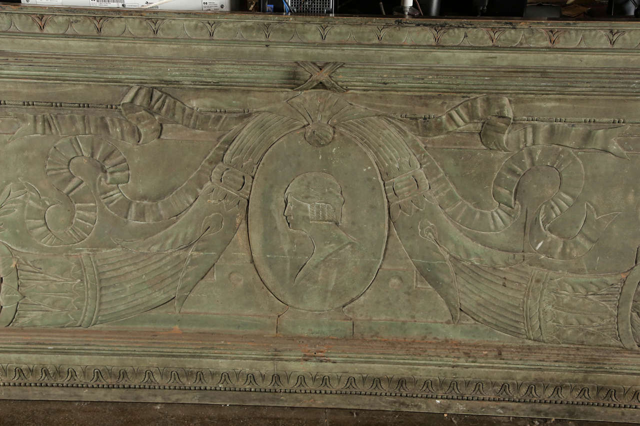Neoclassical Revival Large Bronze Architectural Plaque from New York City For Sale