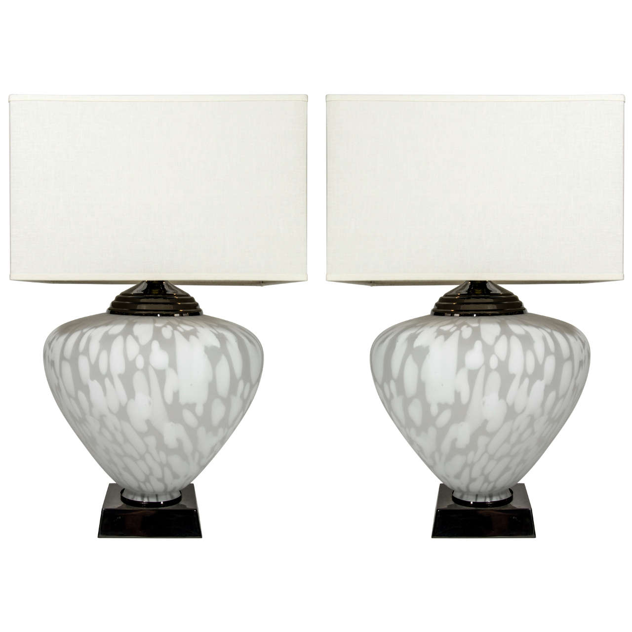 Pair Of Ultra Modern Large Murano Gl Lamps With Illuminated Urns For
