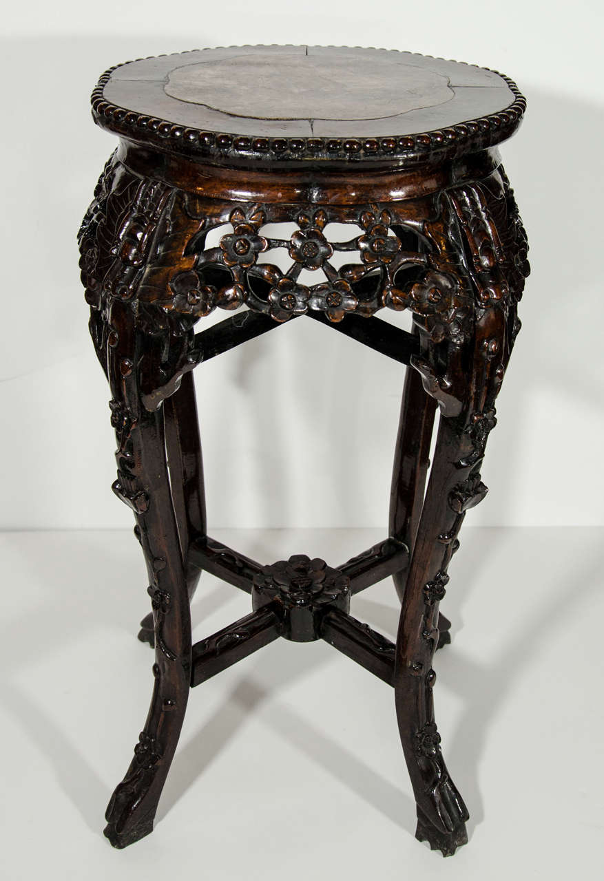 Antique Chinese Hardwood Pedestal Side Table With Marble