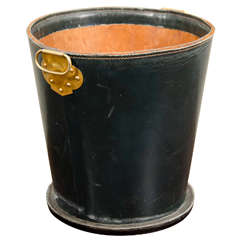 French Leather Waste Paper Basket With Brass Handle