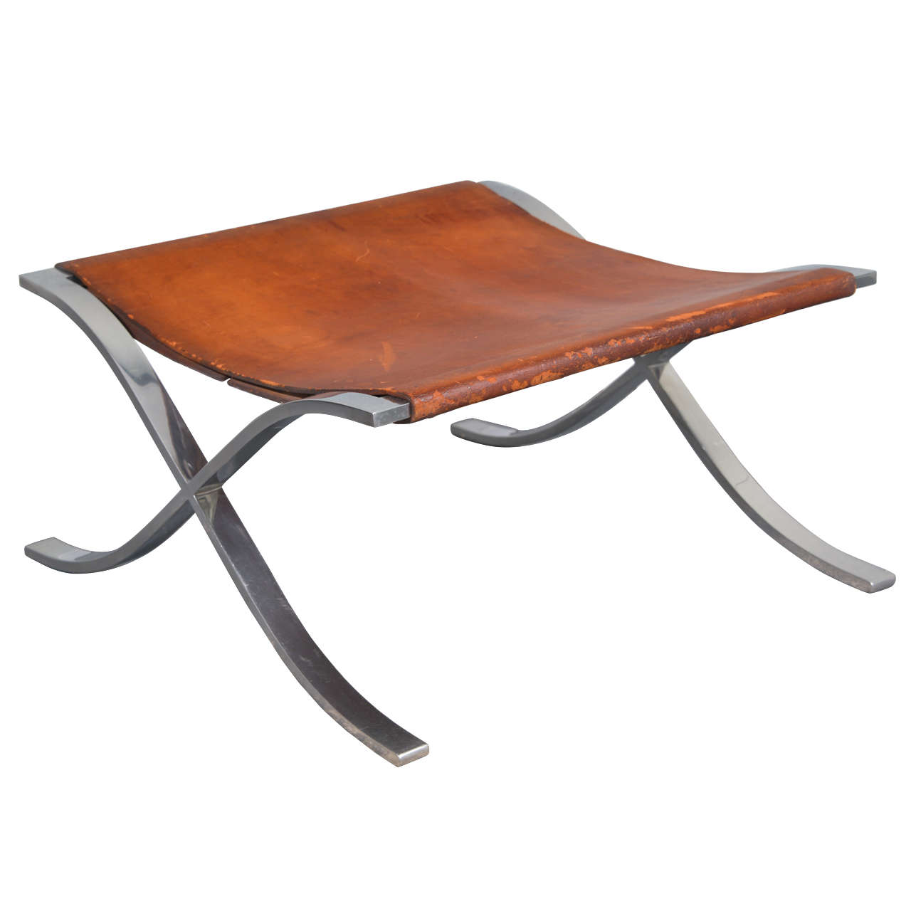 Ludwig Mies van der Rohe Barcelona Stool in Original Leather, 1965