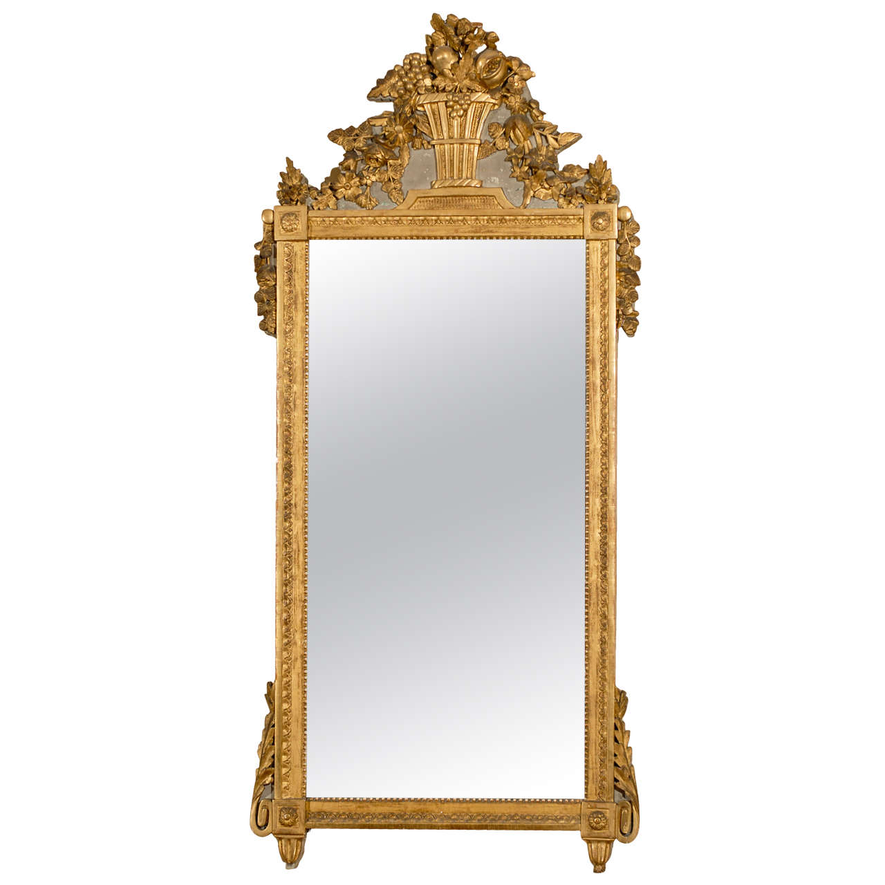 Large louis xvi gilt wood and painted mirror with basket Large wooden mirrors for sale