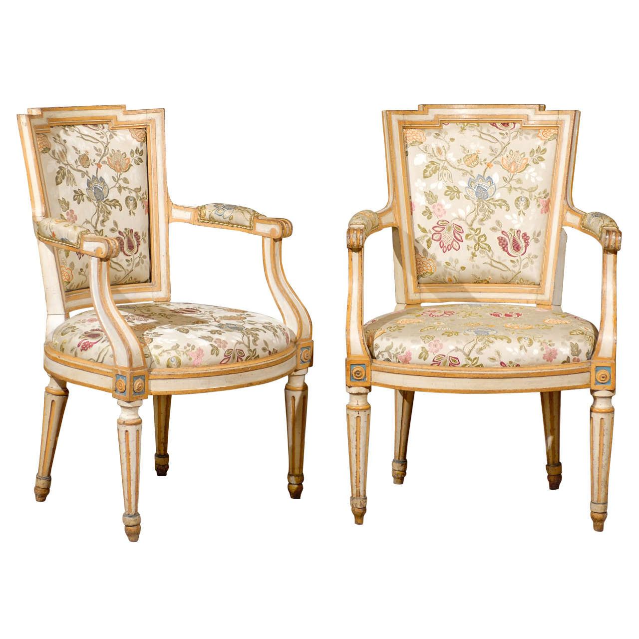 Fine Pair of 18th Century French Louis XVI Painted Fauteuils