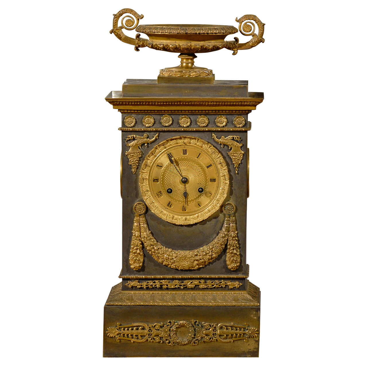 19th Century French Neoclassical Mantel Clock with Ormalu For Sale