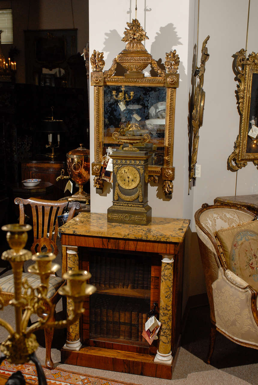 19th Century French Neoclassical Mantel Clock with Ormalu In Good Condition For Sale In Atlanta, GA