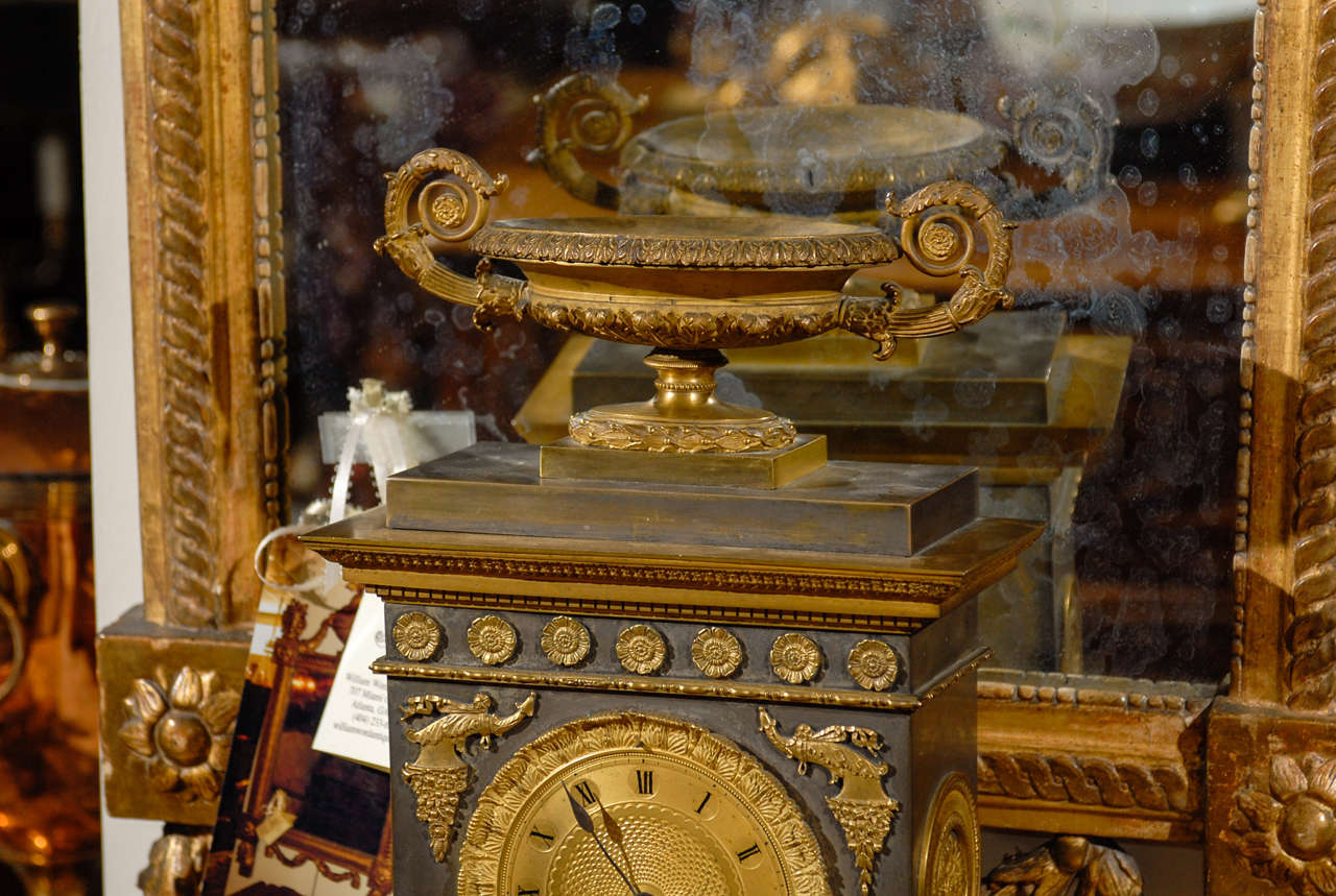 Brass 19th Century French Neoclassical Mantel Clock with Ormalu For Sale