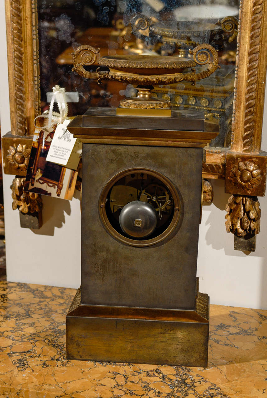 19th Century French Neoclassical Mantel Clock with Ormalu For Sale 4