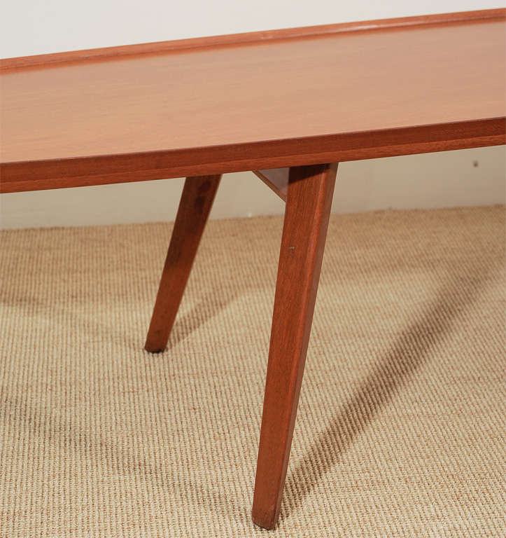 An Ed Wormley for Dunbar Walnut Veneer Surfboard Low Table. image 3