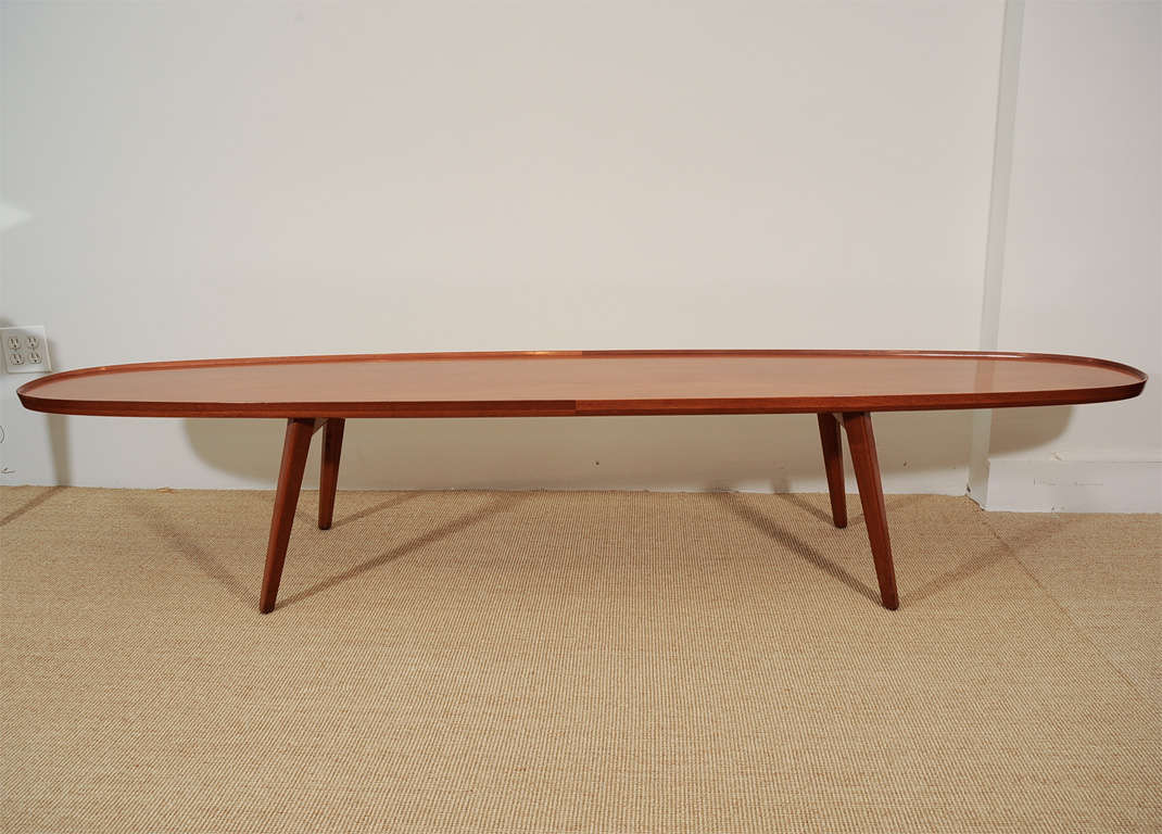 An Ed Wormley for Dunbar Walnut Veneer Surfboard Low Table. image 7