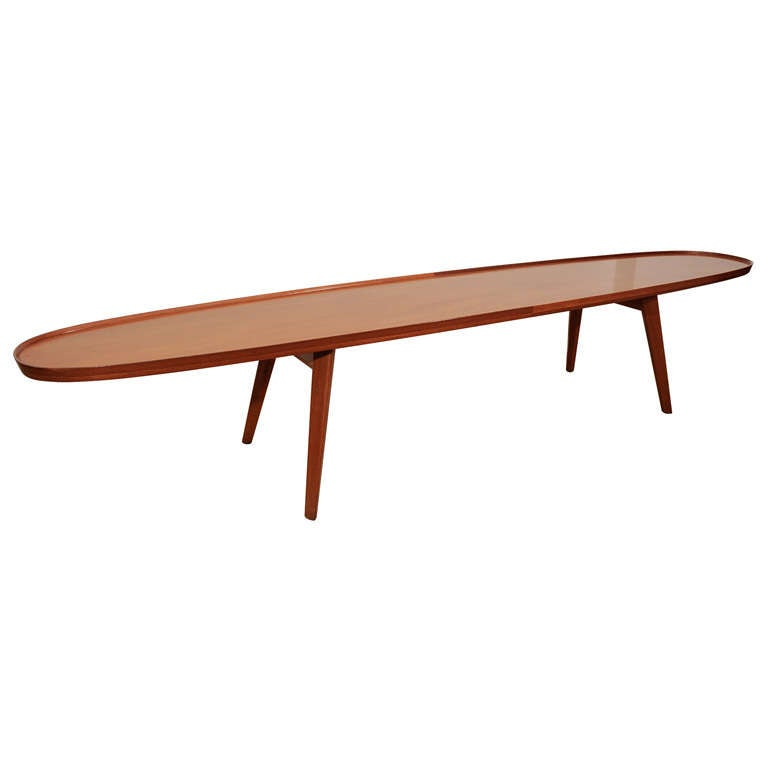 An Ed Wormley for Dunbar Walnut Veneer Surfboard Low Table.