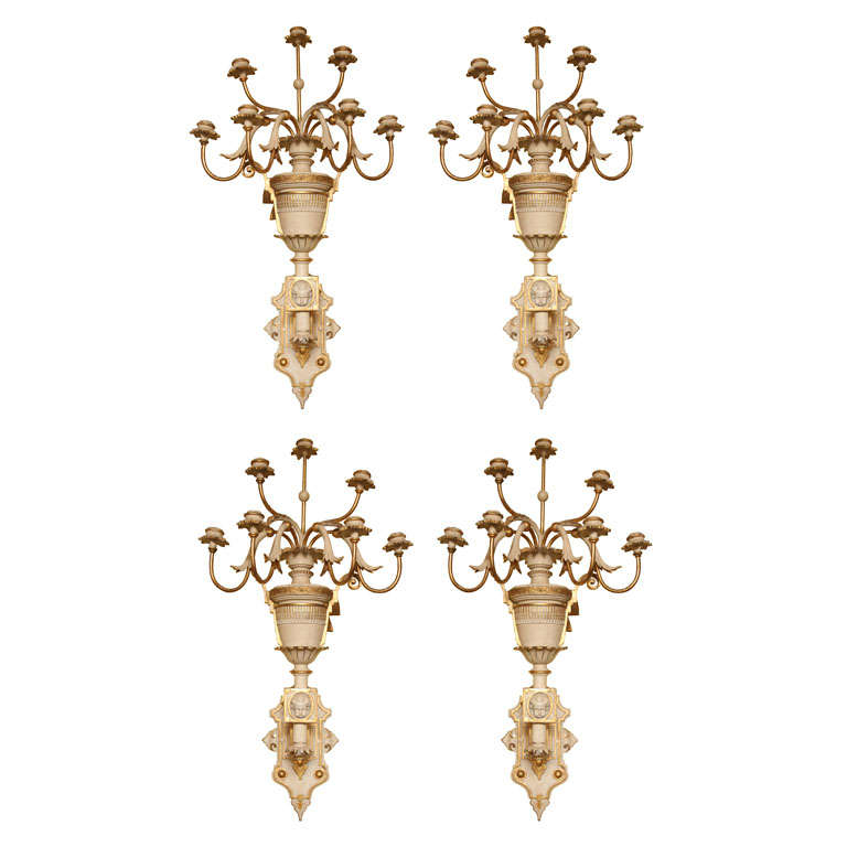 Large Set of Four Regency Style Light Wood Wall Sconces at 1stdibs